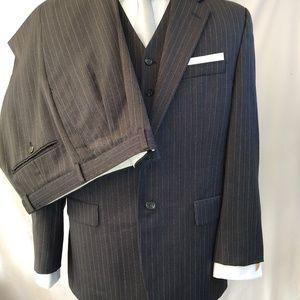 Ralph Lauren Men's 3 Piece Pinstripe Suit Sz 40R